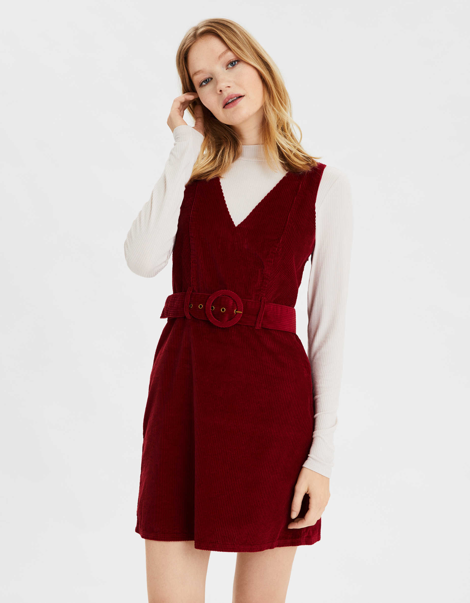 Ae Corduroy Belted Mini Dress by American Eagle Outfitters