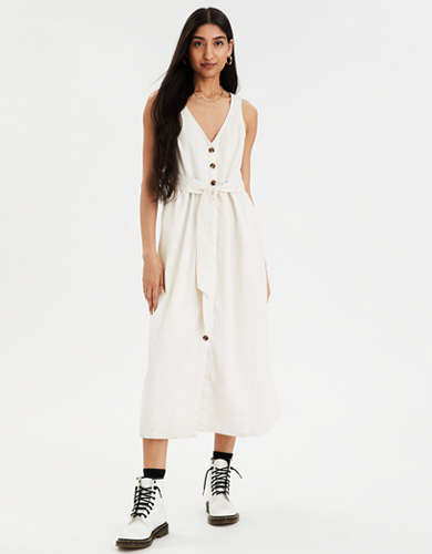 AE Button Front Midi Dress