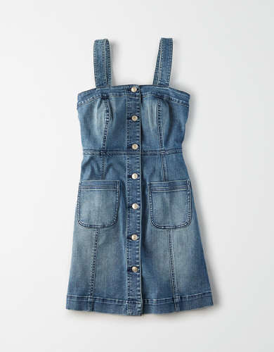 AE Denim Button Front Mini Dress