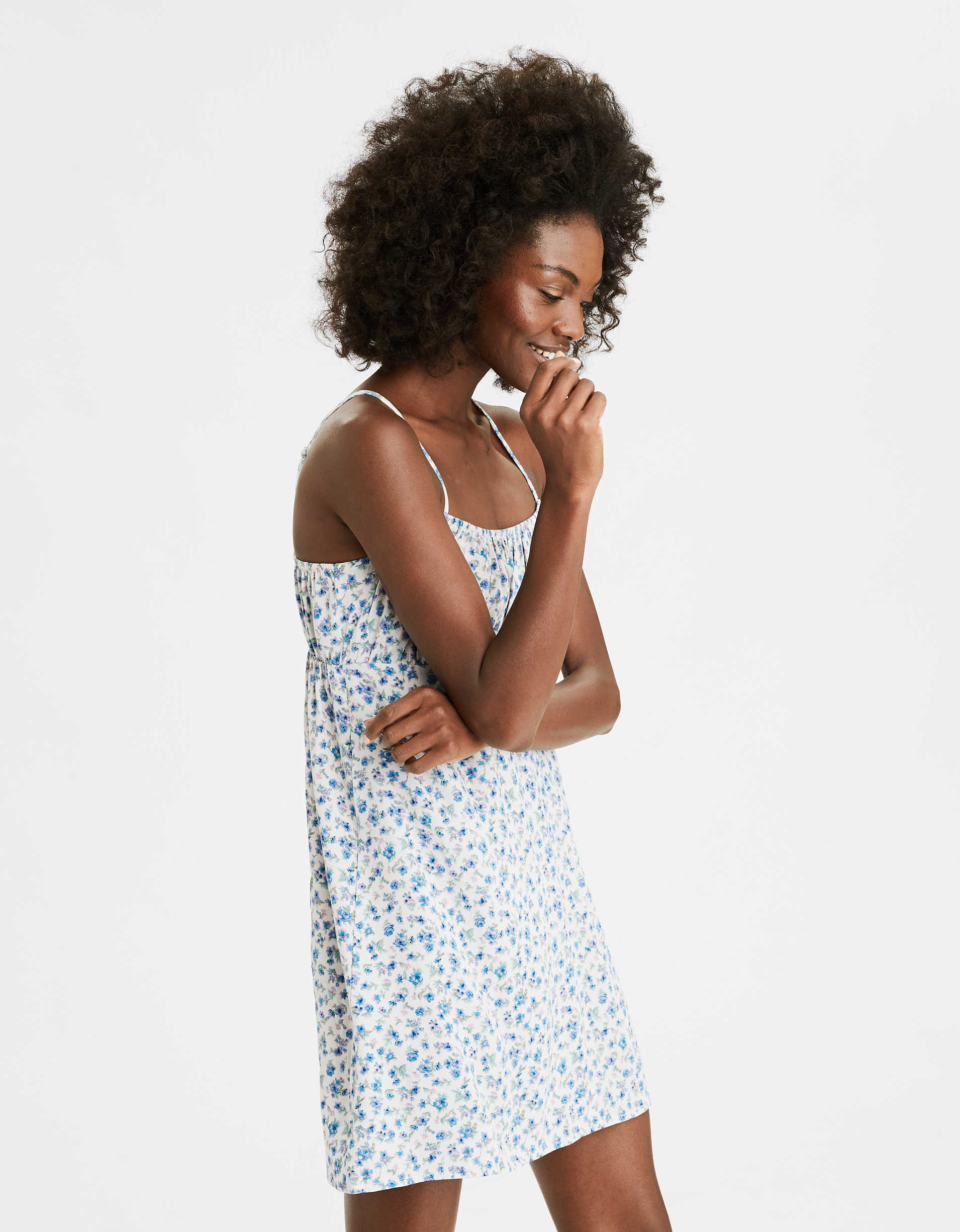 AE Printed Smocked Slip Dress