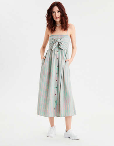 AE Tie Front Midi Dress