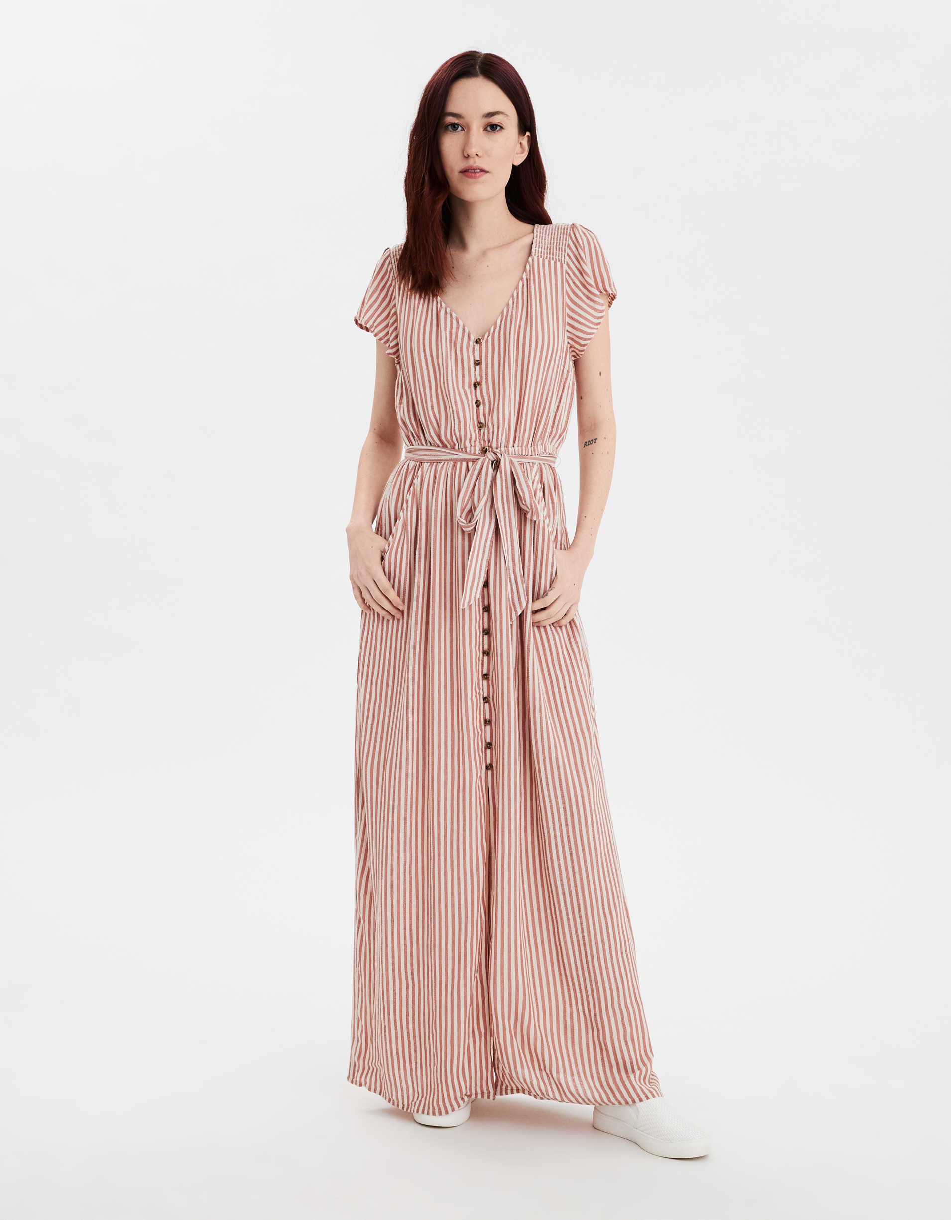 AE Button Front Maxi Dress