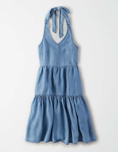 AE Denim Halter Babydoll Dress