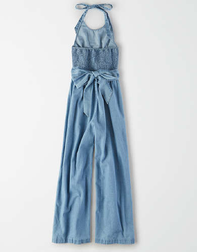 AE Denim Halter Jumpsuit