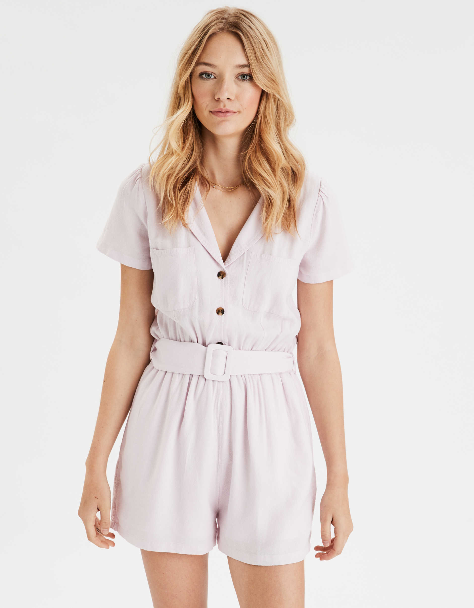 AE Short Sleeve Button Front Romper