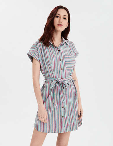 AE Short Sleeve Button Front Shirt Dress