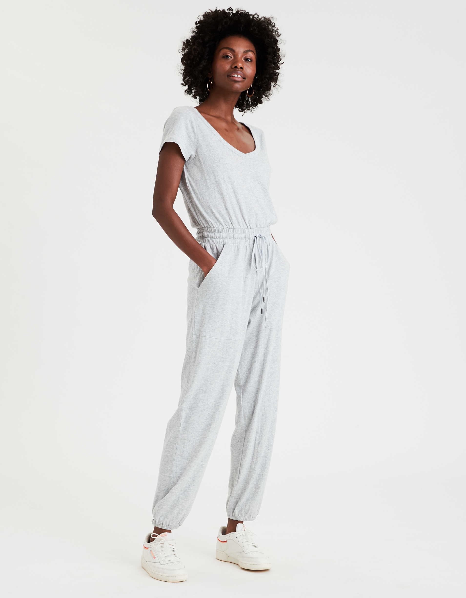 AE Short Sleeve V-Neck Jumpsuit