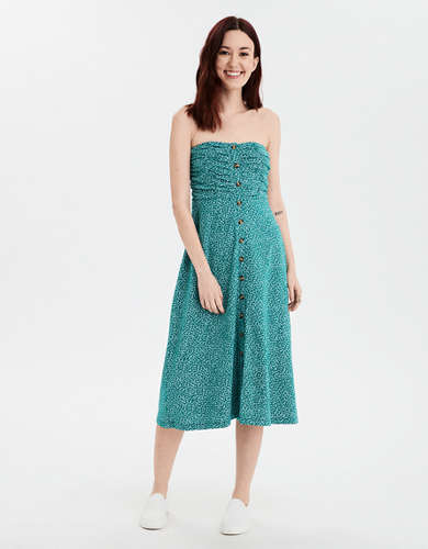 AE Button Front Midi Tube Dress