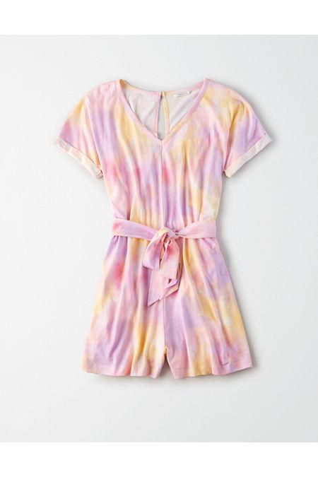 70s Shorts | Denim, High Rise, Athletic AE Tie-Waist Romper Womens Multi XXL $19.97 AT vintagedancer.com