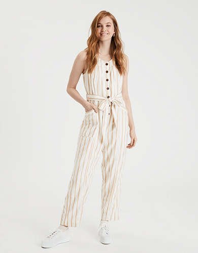 AE Striped Button Front Jumpsuit