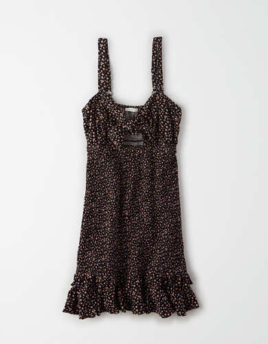 AE Tie Front Smocked Mini Dress