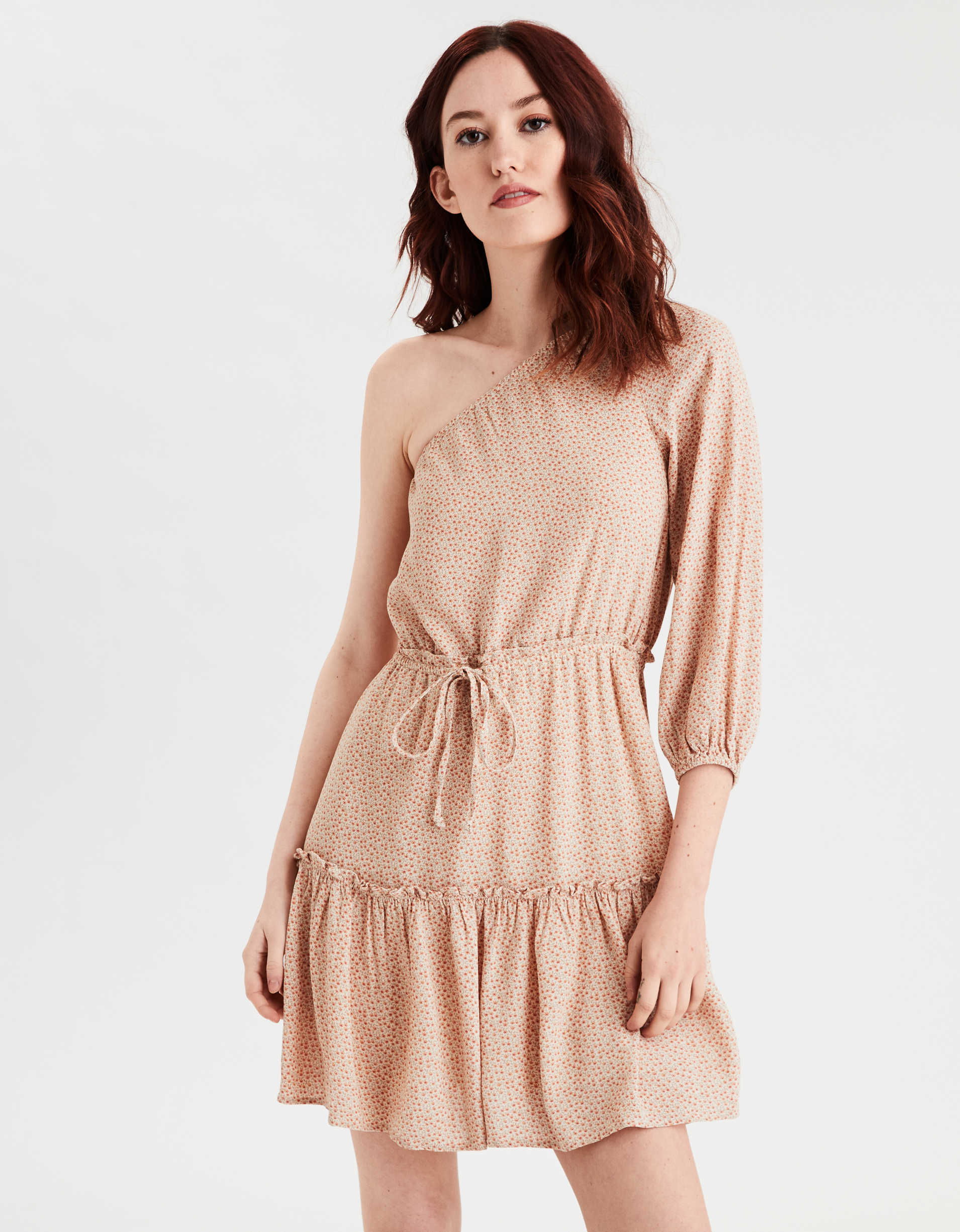 AE One Shoulder Tiered Shift Dress