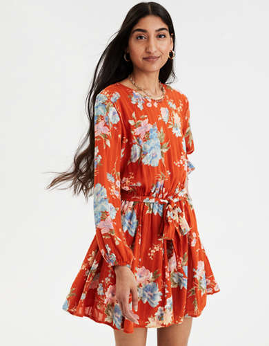 AE Printed Long Sleeve Tie Waist Dress