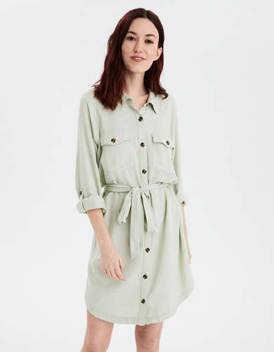 AE Long Sleeve Button Front Shirt Dress