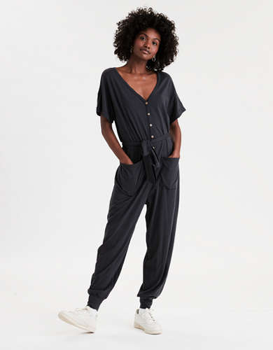 AE Button Front Tie Waist Jumpsuit