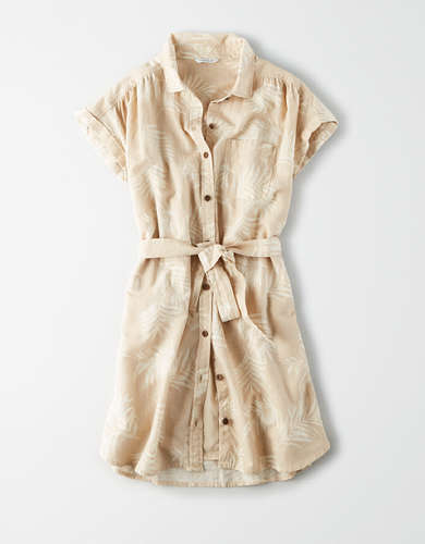 AE Tropical Tie Waist Shirt Dress