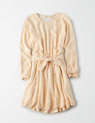 AE Striped Tie Waist Mini Dress