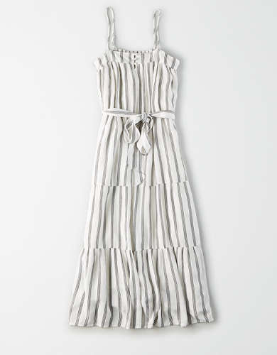 AE Tie Waist Tiered Midi Dress