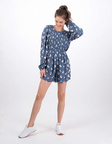 AE Long-Sleeve Smocked Romper