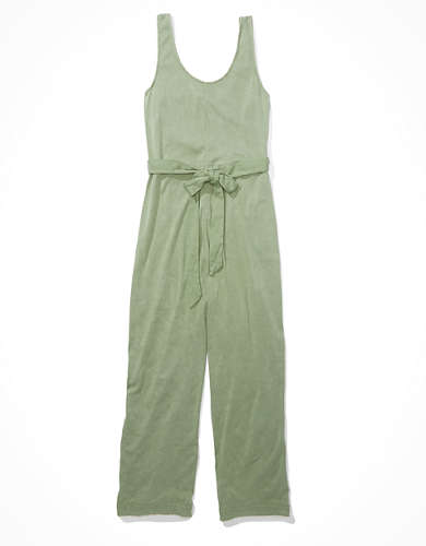 AE Button Up Tie Waist Jumpsuit