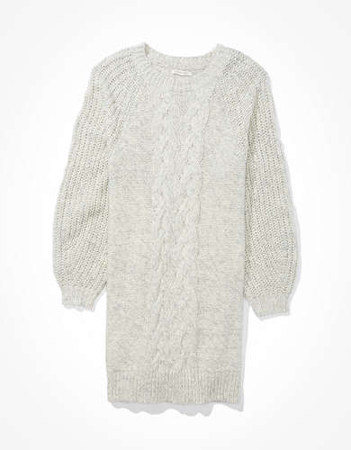 AE Cable Knit Crew Neck Sweater Dress