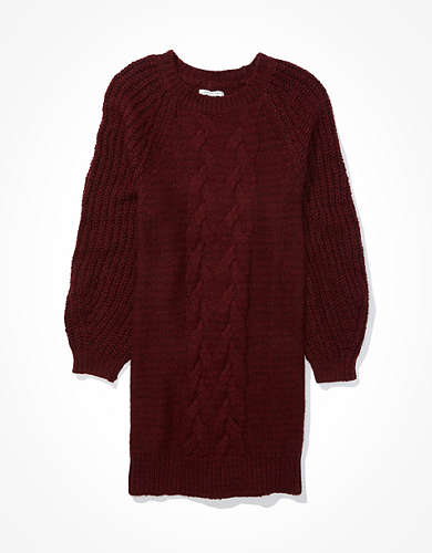 AE Cable Knit Mock Neck Sweater Dress