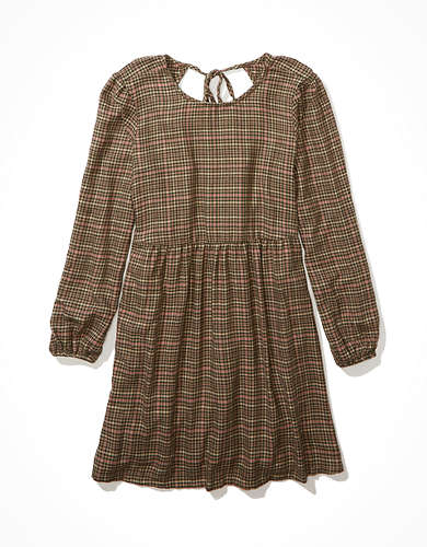 AE Plaid Long Sleeve Babydoll Dress