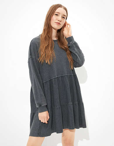 AE Fleece Open Back Babydoll Dress