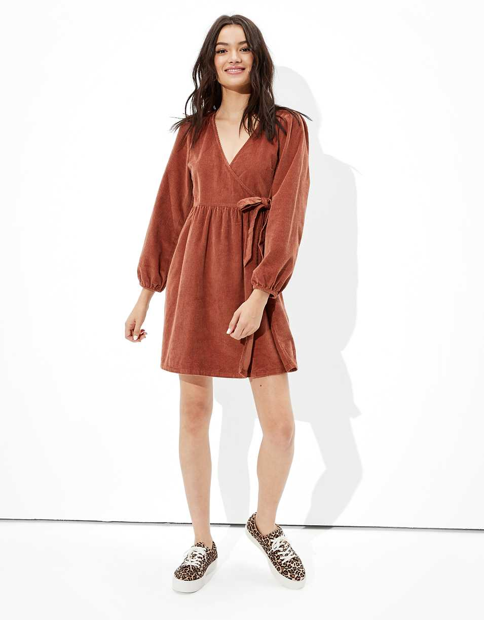 AE Corduroy Wrap Mini Dress