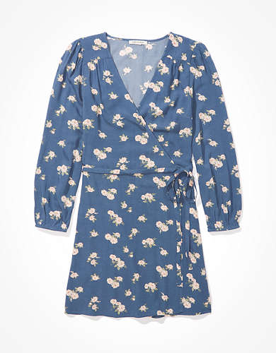 AE Long-Sleeve Wrap Mini Dress