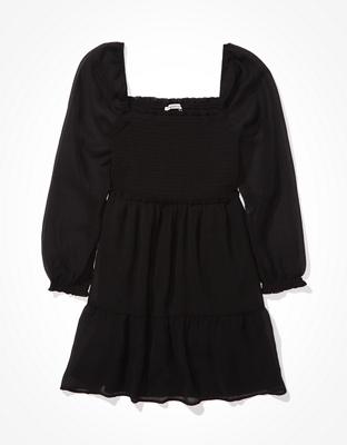 AE Long-Sleeve Smocked Dress
