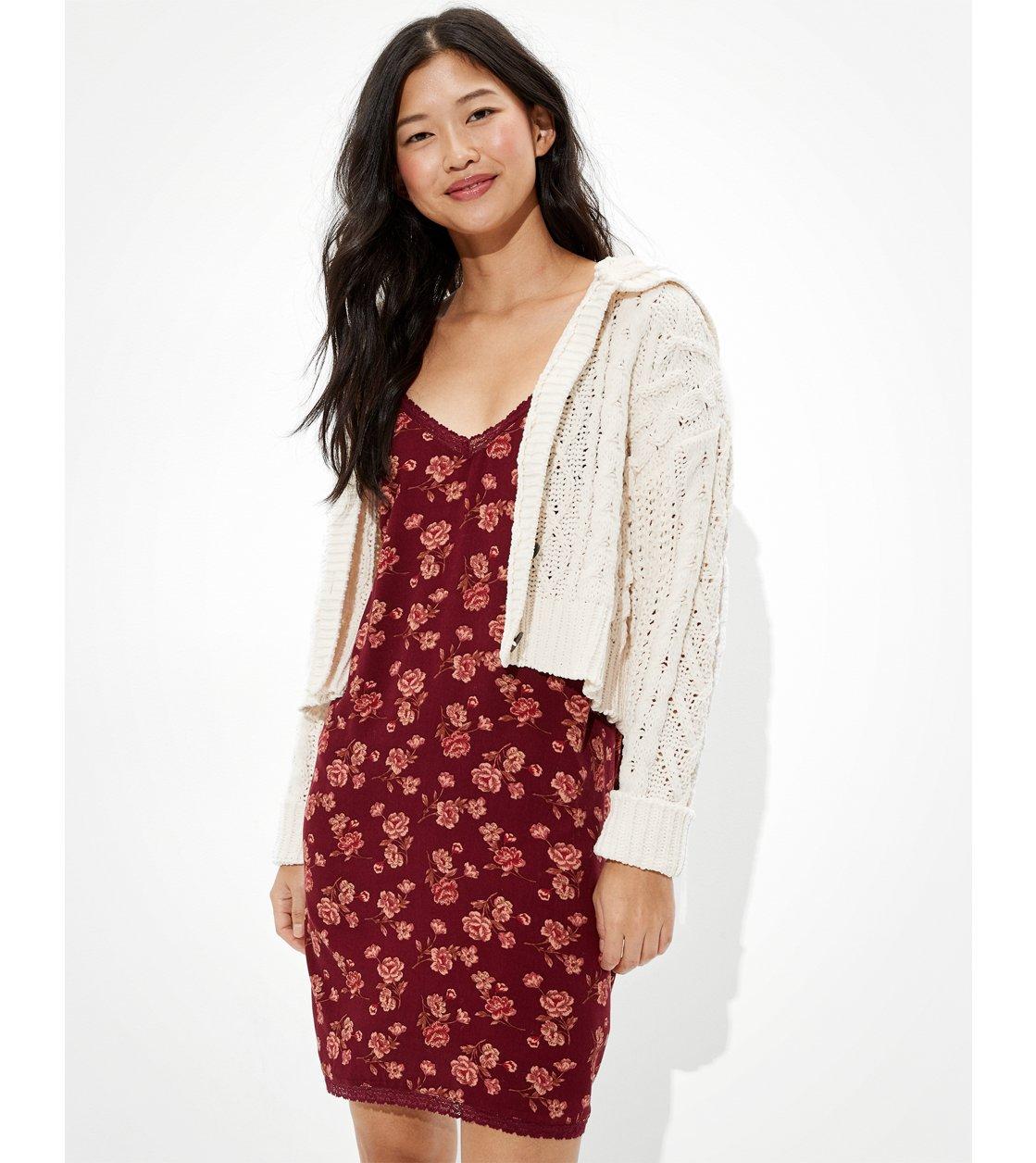 American Eagle AE Lace Slip Mini Dress