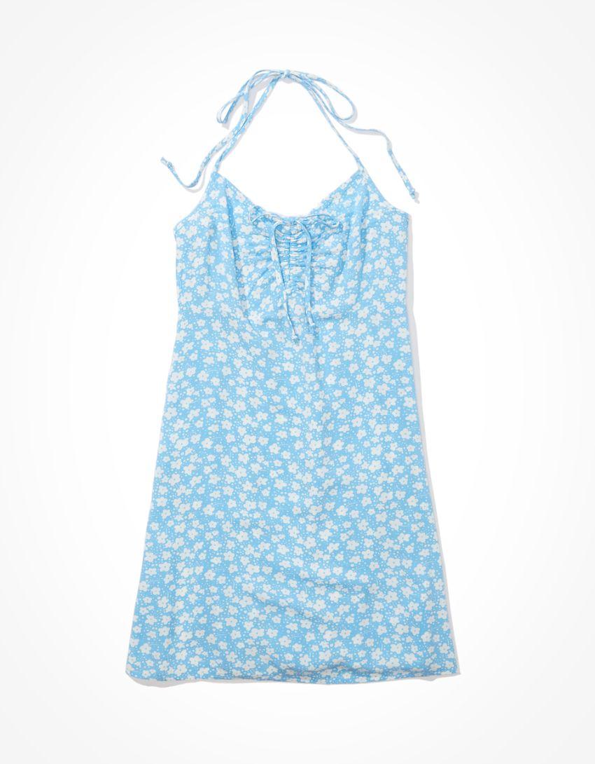 AE Floral Halter Mini Slip Dress