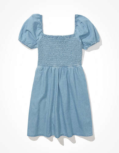 AE Denim Smocked Mini Dress