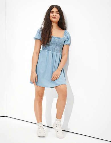 AE Denim Tie-Sleeve Smocked Mini Dress