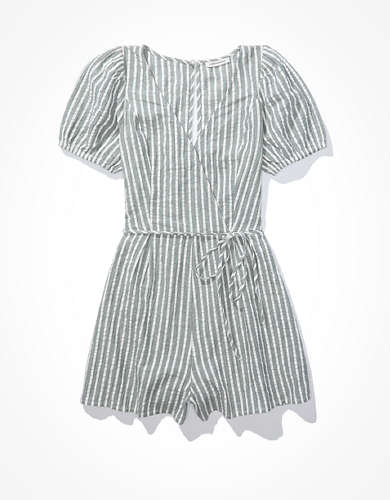 AE Striped Wrap-Front Romper