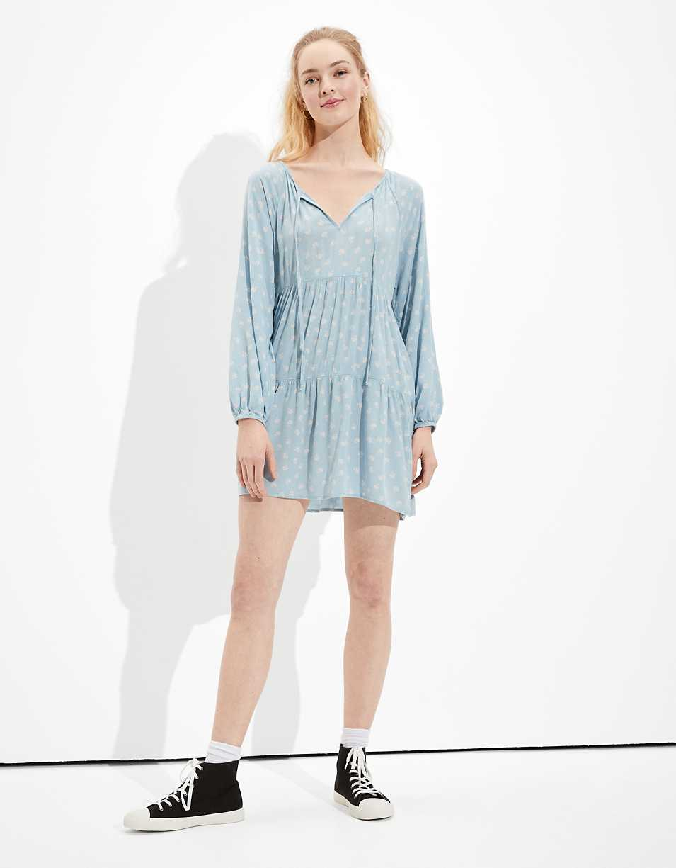 AE Long-Sleeve Tiered Babydoll Dress