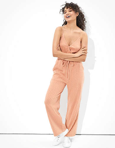AE Solid Strappy Wide Leg Jumpsuit