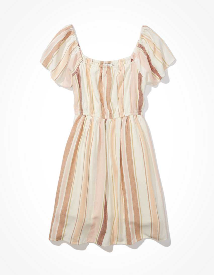 AE Striped Flutter-Sleeve Mini Dress
