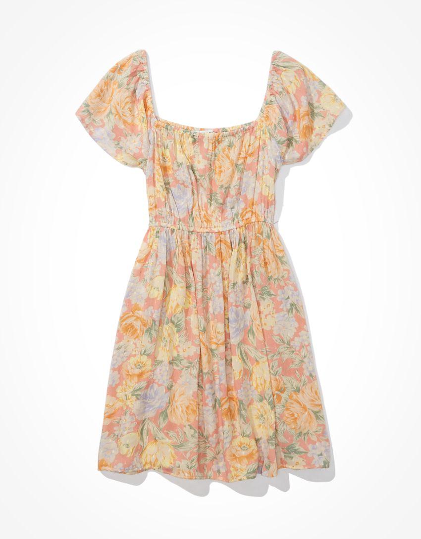 AE Floral Flutter-Sleeve Mini Dress
