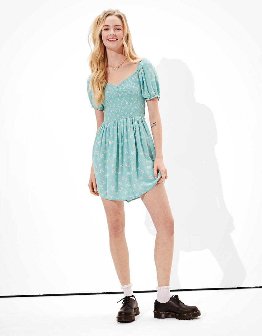AE Printed Puff-Sleeve Mini Dress