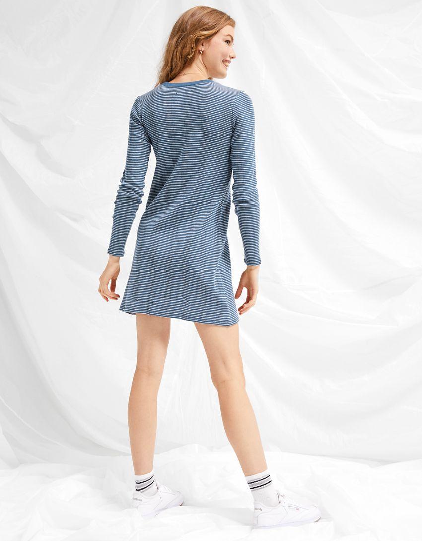 AE Striped Long-Sleeve Mini Dress