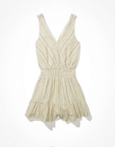 AE Striped Ruffled Romper