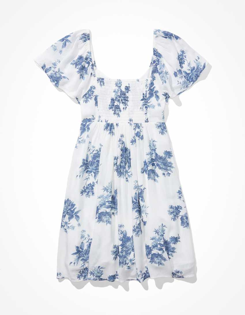 AE Ruched Flutter-Sleeve Mini Dress