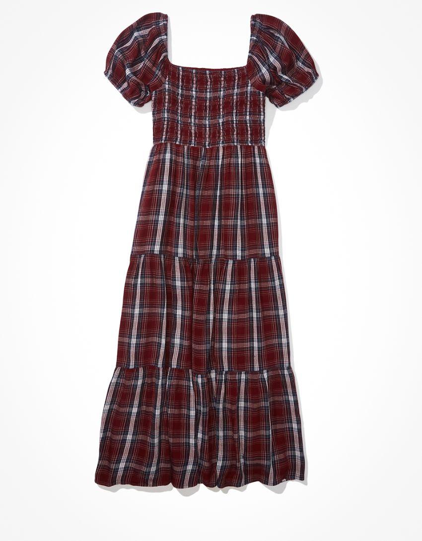 AE Plaid Smocked Midi Dress