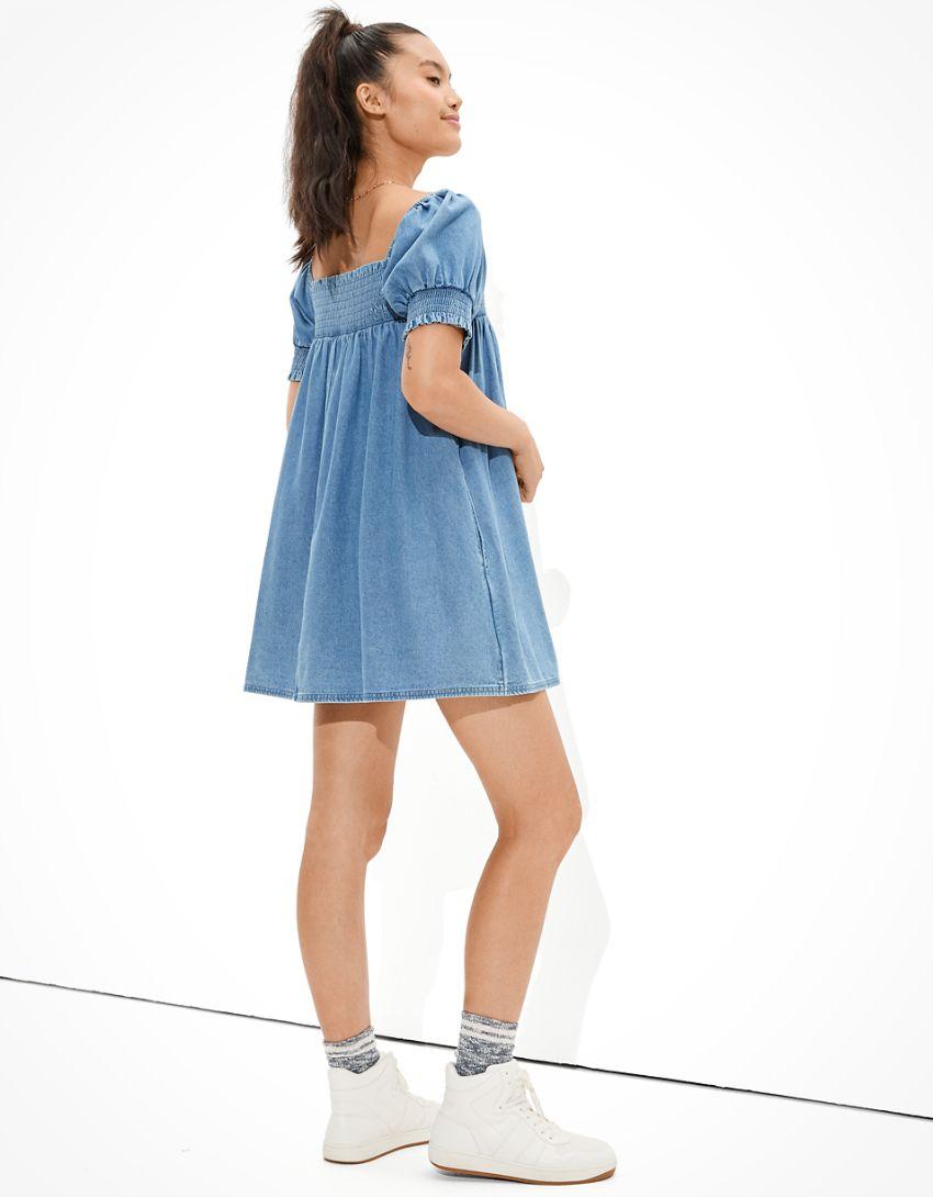 AE Denim Smocked Puff-Sleeve Babydoll Dress