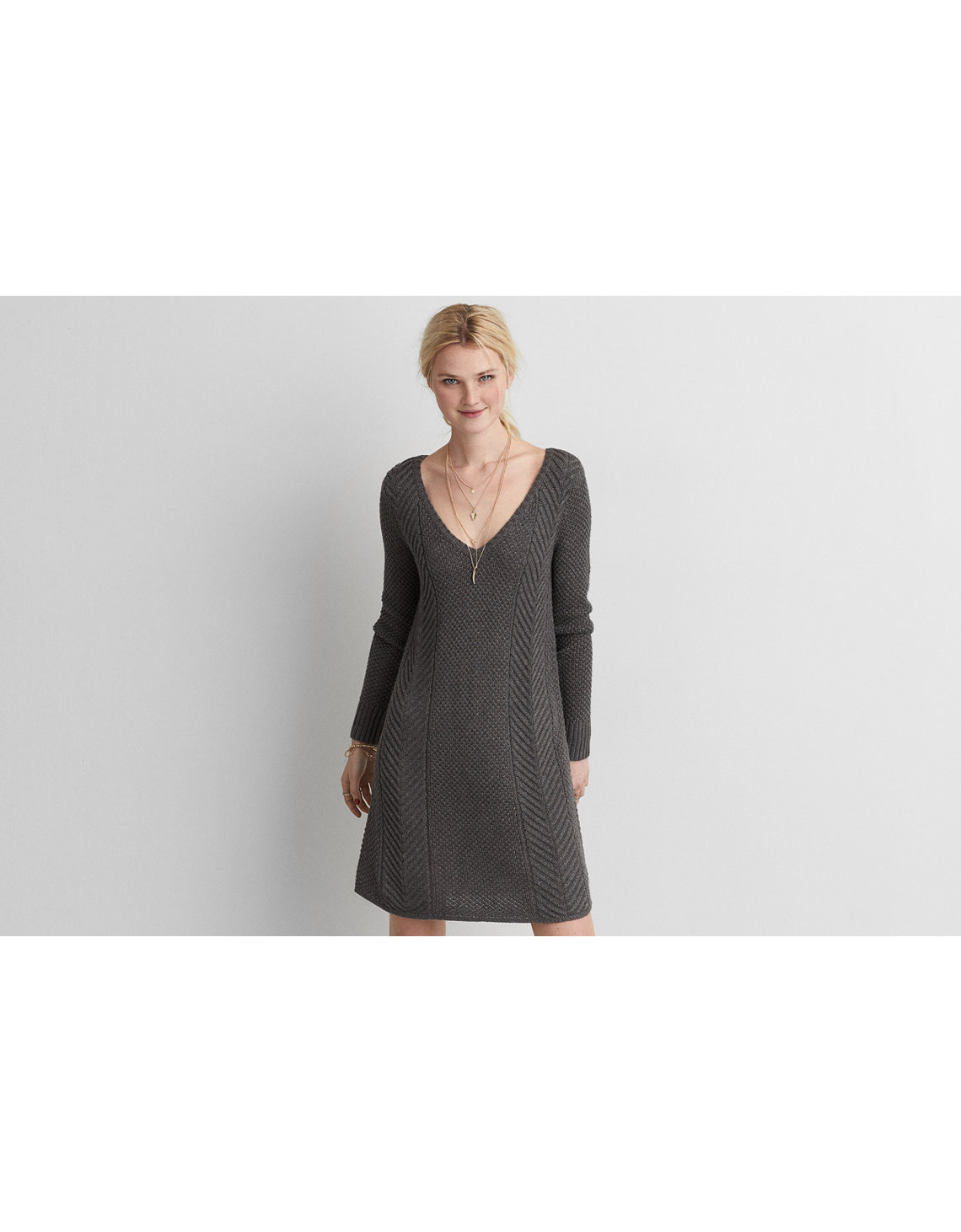 Aeo V Neck Fit Amp Flare Sweater Dress Charcoal American