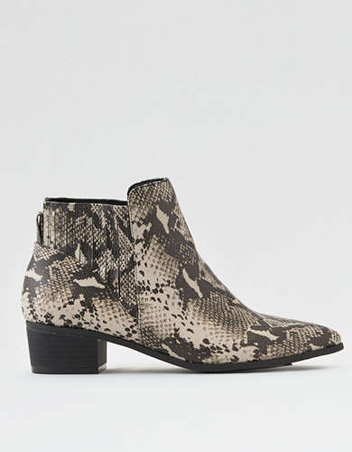 AEO Snakeskin Pointed Toe Bootie