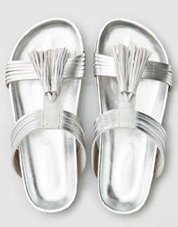 Aeo Silver Tassel Sandals by American Eagle Outfitters