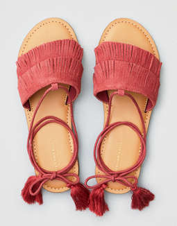 AEO Tiered Fringe Slide Sandals